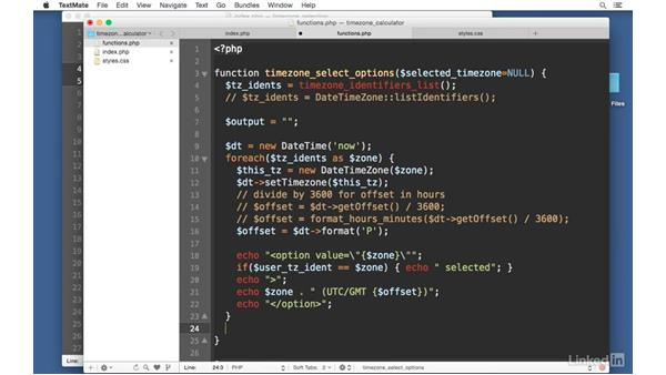 Time zone options function: Easy PHP Projects: Time Zone Conversion