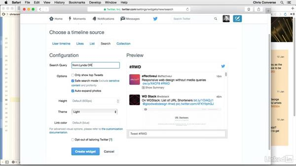 Creating feeds from multiple accounts (handles): Design the Web: Add a Twitter Timeline