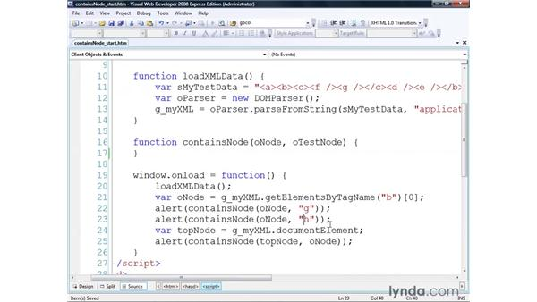 Using the containsNode() algorithm: Real-World XML
