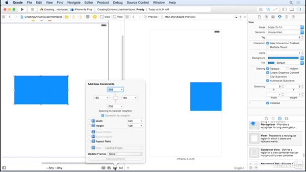 Create an Auto Layout constraint: iOS UI Development with Visual Tools