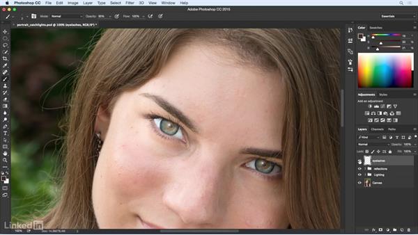 Enhance eyelashes: Eye Enhancement for Portraiture with Photoshop