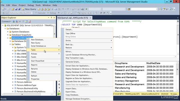 Performing a basic restore using the GUI: SQL Server 2014 Backup and Recovery