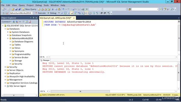 Performing a basic restore using T-SQL: SQL Server 2014 Backup and Recovery