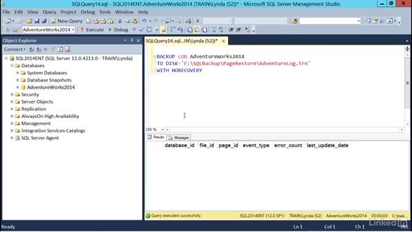 Page restore: SQL Server 2014 Backup and Recovery
