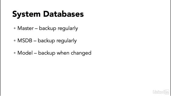 Backing up system databases: SQL Server 2014 Backup and Recovery