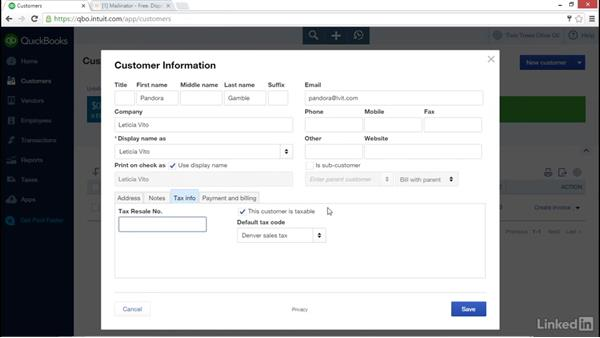 Creating a customer: Learn QuickBooks Online: The Basics