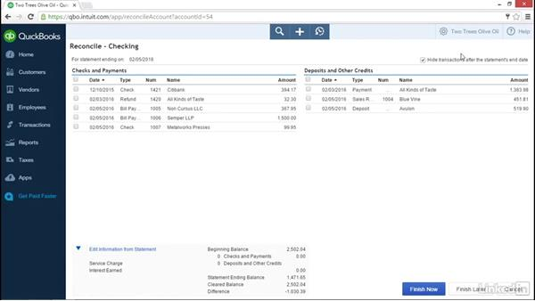 Reconciling transactions to bank statement: Learn QuickBooks Online: The Basics