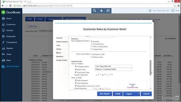 Customizing a report: Learn QuickBooks Online: The Basics
