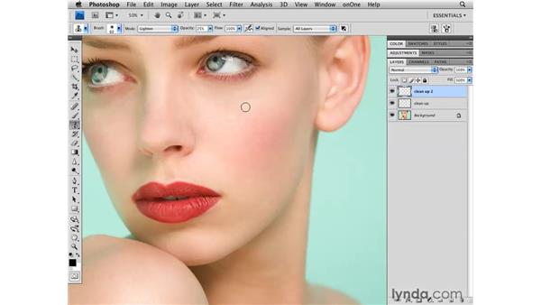 Reducing shadows beneath the eyes: Photoshop CS4 Retouching: Fashion Photography Projects