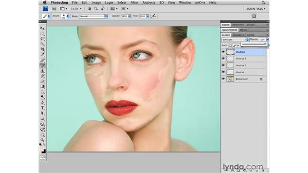 Reducing shadows around the face: Photoshop CS4 Retouching: Fashion Photography Projects