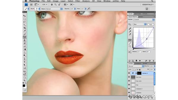 Modifying the color of the lips: Photoshop CS4 Retouching: Fashion Photography Projects
