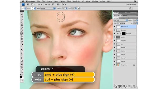 Adding dimension to the face: Photoshop CS4 Retouching: Fashion Photography Projects
