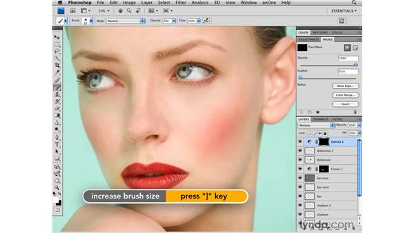 Darkening the eyebrows: Photoshop CS4 Retouching: Fashion Photography Projects
