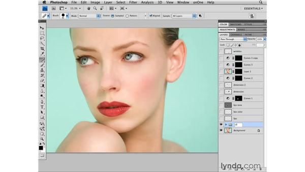 Organizing the layers of the image and cleaning up: Photoshop CS4 Retouching: Fashion Photography Projects