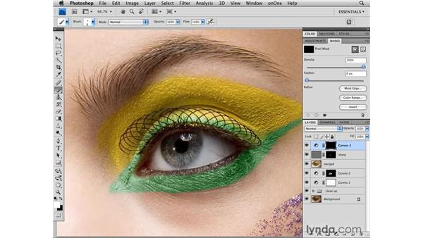 Sharpening and enhancing the color and tone of the eye: Photoshop CS4 Retouching: Fashion Photography Projects