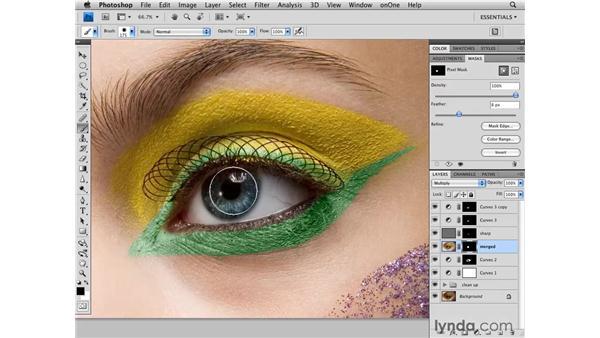 Darkening the edges of the eye: Photoshop CS4 Retouching: Fashion Photography Projects