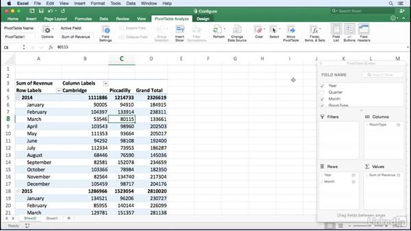 Configuring a PivotTable: Excel for Mac 2016: Pivot Tables in Depth