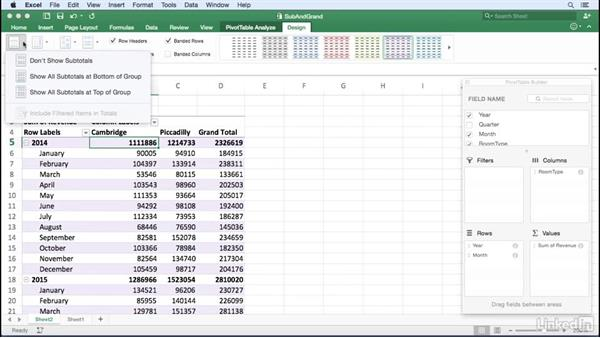 Managing subtotals and grand totals: Excel for Mac 2016: Pivot Tables in Depth