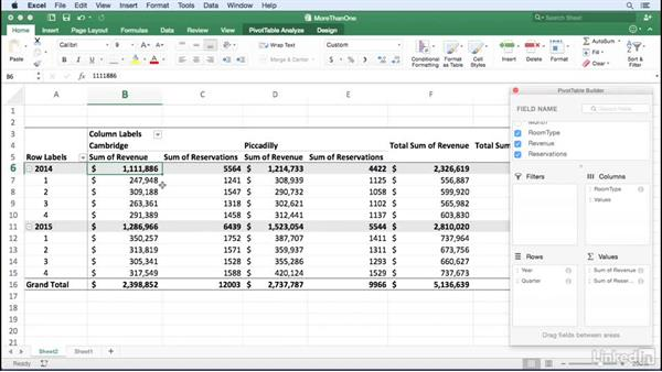Summarizing more than one data field: Excel for Mac 2016: Pivot Tables in Depth