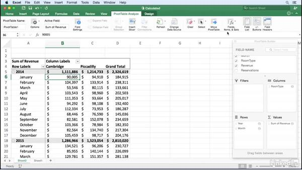 Creating a calculated field: Excel for Mac 2016: Pivot Tables in Depth