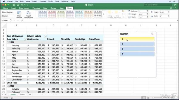 filtering a pivottable using slicers