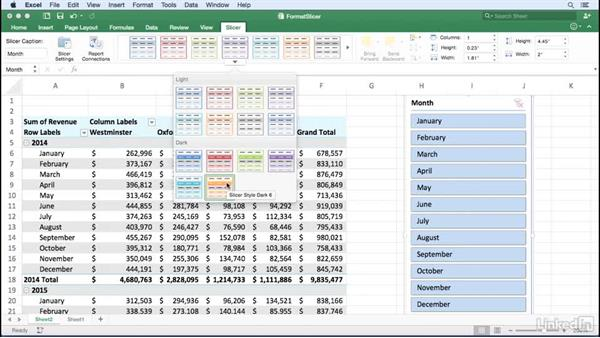 Formatting slicers: Excel for Mac 2016: Pivot Tables in Depth