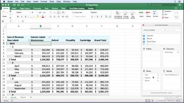 Filtering with report filter fields: Excel for Mac 2016: Pivot Tables in Depth