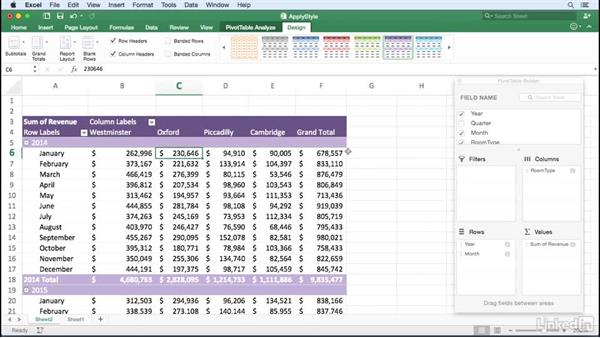 Applying a PivotTable style: Excel for Mac 2016: Pivot Tables in Depth