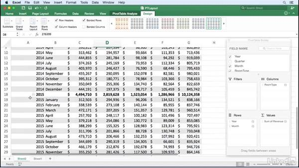 Changing the PivotTable layout: Excel for Mac 2016: Pivot Tables in Depth