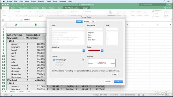 Highlighting cells by applying a rule: Excel for Mac 2016: Pivot Tables in Depth