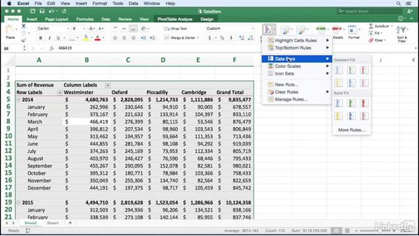 Formatting cells using data bars: Excel for Mac 2016: Pivot Tables in Depth