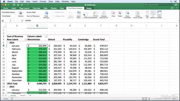 Editing a conditional formatting rule: Excel for Mac 2016: Pivot Tables in Depth