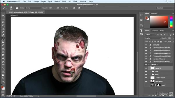 Color overlay and textures: Photoshop: Turn Yourself into a Zombie