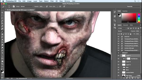 Detail the blood, bones, and teeth: Photoshop: Turn Yourself into a Zombie