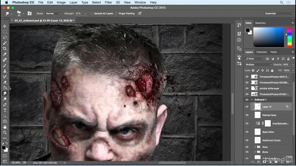 Add blood spatters and cataracts: Photoshop: Turn Yourself into a Zombie