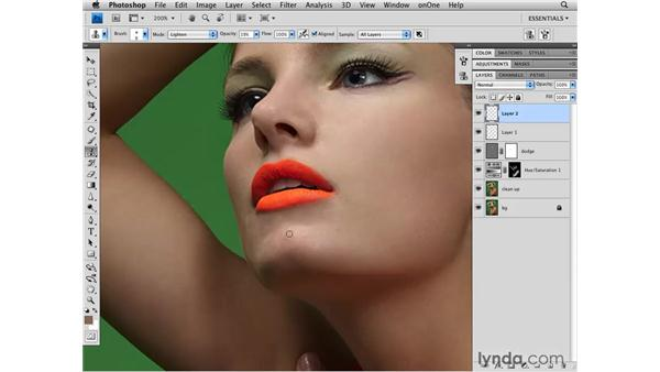 Dodging to brighten shadows: Photoshop CS4 Retouching: Fashion Photography Projects