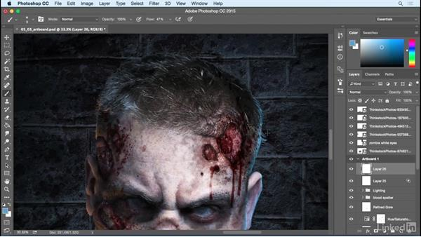 Final refinement and tweaks: Photoshop: Turn Yourself into a Zombie
