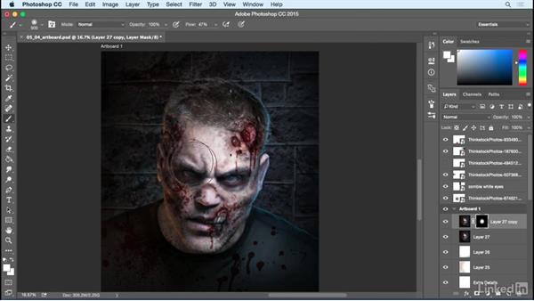 Add color correction and overlays: Photoshop: Turn Yourself into a Zombie