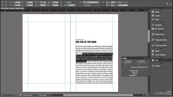 The Info panel: InDesign for Editors