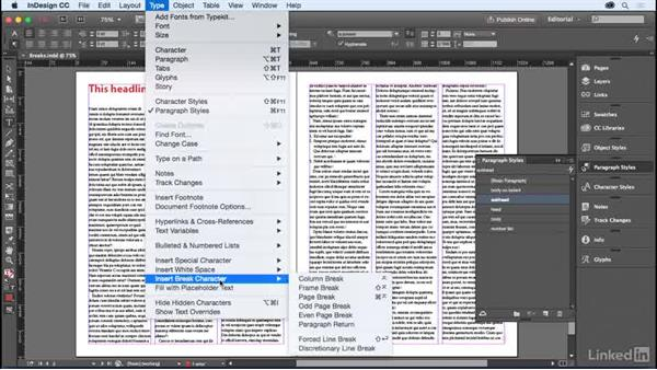 Page and column breaks: InDesign for Editors