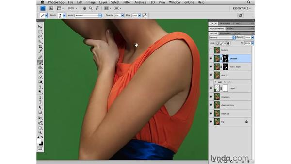 Strong skin smoothing: Photoshop CS4 Retouching: Fashion Photography Projects