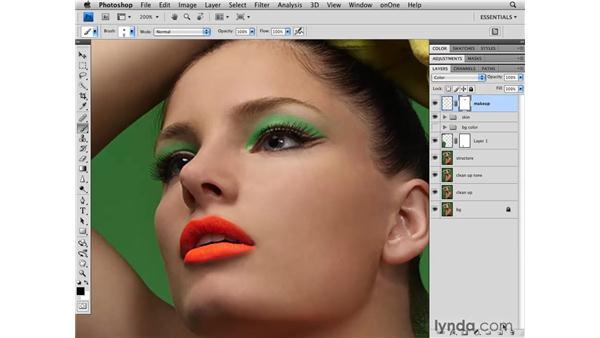 Adding eye makeup: Photoshop CS4 Retouching: Fashion Photography Projects