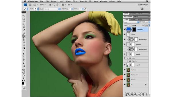 Adding lip and cheek makeup: Photoshop CS4 Retouching: Fashion Photography Projects