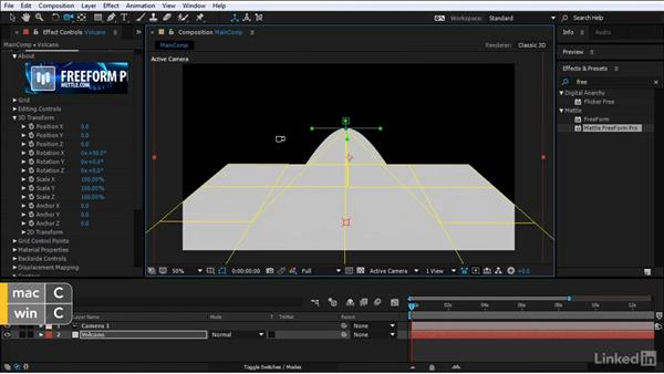 Model the volcano's basic shape: After Effects Motion Graphics: Creating Fire and Brimstone Type Animation