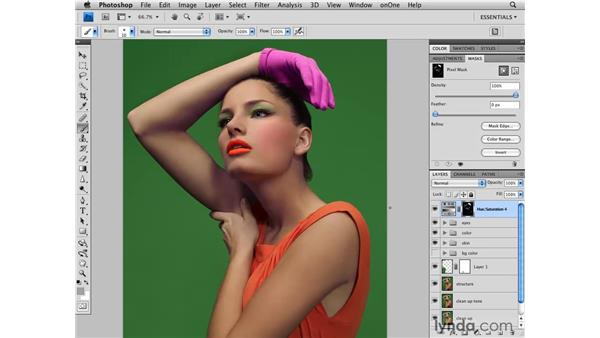 Changing the color of the glove: Photoshop CS4 Retouching: Fashion Photography Projects
