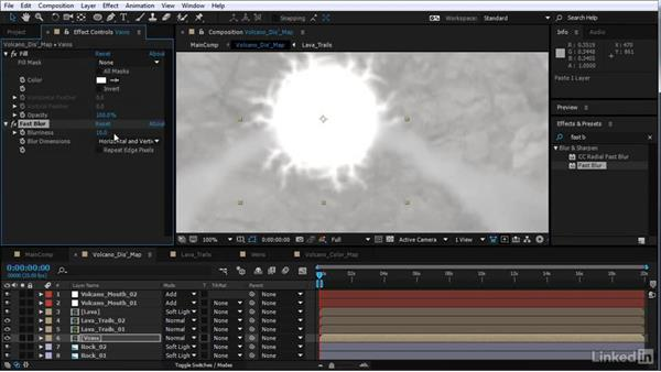 Add lava veins to the displacement map: After Effects Motion Graphics: Creating Fire and Brimstone Type Animation