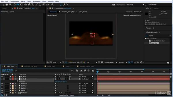 Add a camera to the scene and rig it: After Effects Motion Graphics: Creating Fire and Brimstone Type Animation