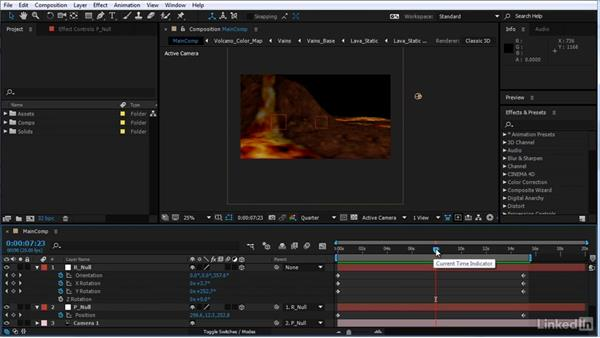Animate the camera rig: After Effects Motion Graphics: Creating Fire and Brimstone Type Animation