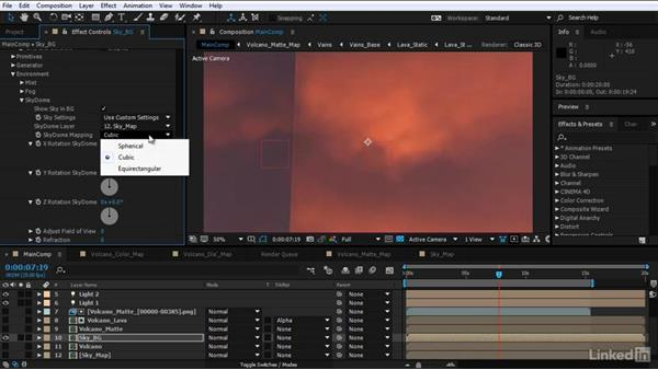 Create and render a sky background pass: After Effects Motion Graphics: Creating Fire and Brimstone Type Animation