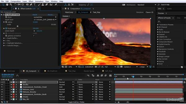 Animating the depth of field: After Effects Motion Graphics: Creating Fire and Brimstone Type Animation